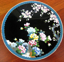 """ANTIQUE JAPANESE CLOISONNE ENAMEL MEIJI CHERRY BLOSSOM CHARGER 7"""" SIGNED INABA"""