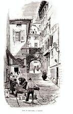 GRAVURE SUR BOIS 19ème ARCO DE RICCARDO TRIESTE ITALIE