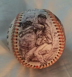 BARTOLO COLON artball, original ink drawings on vintage baseball, NY METS