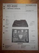 Kenwood Service Manual~Full Version~KD-4020 Turntable~Original Repair Manual