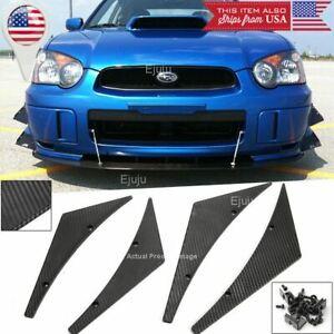 4 Pc Carbon Texture Bumper Canard Splitter Fin Spoiler Diffuser for Subaru Mazda