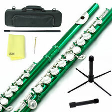 Sky Green Silver C Close Hole Flute w Case, Stand, Cleaning Rod, Cloth and More