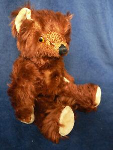 """Antique Mohair Teddy Bear Glass Eyes 11 1/2"""""""