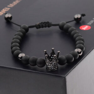 Charm Men Cubic Zircon 24kt Black Plated Crown Bracelet Bead Macrame Bracelets