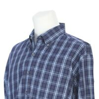 Peter Millar Blue Brown Check Plaid Button Down Casual Dress Shirt Mens XL