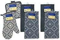 AM Gray Diamond Geometric Kitchen Linen Collection 7-Piece Set - Solid-Color ...