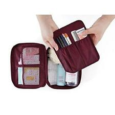 2 Layers Travel Trip Camping Gym Toiletry Bag Cosmetic Carry Case (Wine Red)
