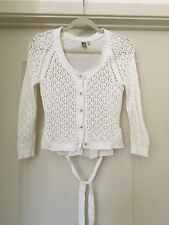 Anthropologie Vintage White Knit Cardigan Sweater Size XS
