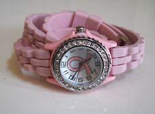 Breast Cancer Awareness Pink Ribbon Wrap Around Sparkly Rhinestone Crystal Watch