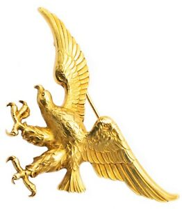 CARTIER 1950 PARIS FABULOUS EAGLE BROOCH IN TEXTURED 18 KT YELLOW GOLD RARE BOX