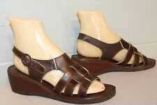 8.5 M NOS Vtg 70s Wood Wedge Heel Brown Leather 3-STRAP WOVEN Hippie Sandal Shoe