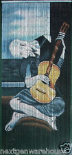 Old Guitarist Picasso Bamboo Curtain Patio Room Divider Wall Hanging Bead Art