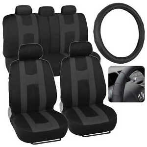 Charcoal Rome Sport Car Seat Cover & Stitched Synth Leather Steering Wheel Cover