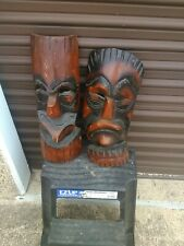 Vintage Hand Carved Polynesian Wood Tiki Masks Wall Hanging 20 inches