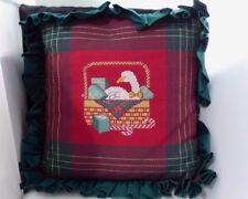 White Duck Goose Pillow Plaid Cross Stitch Handmade Christmas Holiday Decor