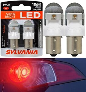 Sylvania ZEVO LED Light 1156 Red Two Bulbs Stop Brake Rear Replacement Stock OE