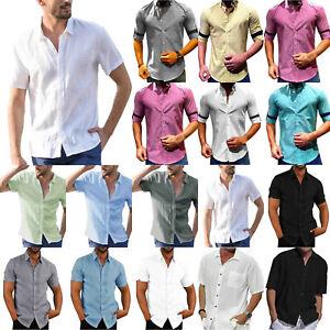 Herren Kurzarmhemd Hemden Urlaub Business Oberhemd Freizeithemd Oberteile Solide