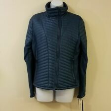 Kenneth Cole Womens Jacket S Blue Ruched Quilted Zippered Small New with Tags