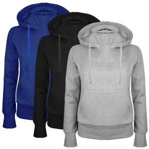 Ladies Fleece Hoodie Pullover Plain Top Casual Hooded Gym Sport Yoga Sweatshirt