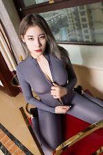 Women Shiny 2 Two Way Zipper Open Crotch Bust Transparent Lingerie Bodysuit