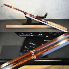 HuaLee-Wood Japanese Samurai Ninja Dao Sword RED Damascus steel Straight Katana