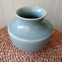 Celadon Blue Green MSE Art Pottery Vase Crackle Aqua Glaze Martha Stewart EUC 5""