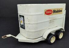 Vintage Tonka Pressed Steel White Stables Horse Trailer Toy Dual Axle