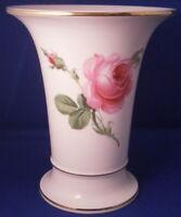 Meissen Porcelain Pink Rose Floral Trumpet Shape Vase Porzellan Blumenvase