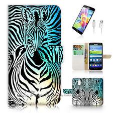 ( For Samsung S5 ) Wallet Case Cover Zebra Wave P0493