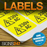 ELECTRICAL WARNING STICKERS - self-adhesive yellow labels AC 230V