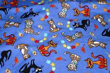 1  1/2 yd Cat Flannel Cotton Fabric Cartoon Animal Blue Free Ship  BFab