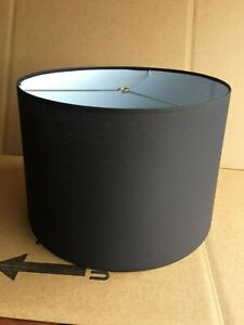 """Contemporary Style Fabric Drum Lamp shade 16"""" wide Black color"""