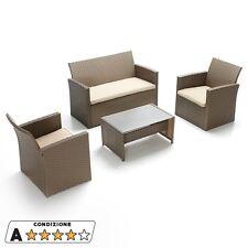 Set salottino in polyrattan Granada poltrone tavolo divano con cuscini 06549