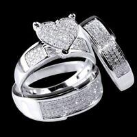 14k White Gold Over His Her Diamond Heart Shape Bridal Wedding Trio Ring set