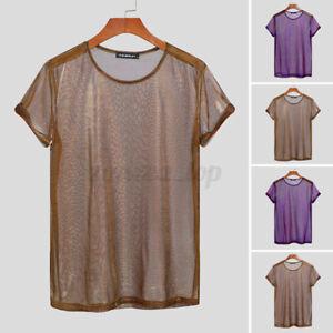 Mens Mesh Tops See Through T Shirt Short Sleeve Shinny Tee Clubwear Party Dress