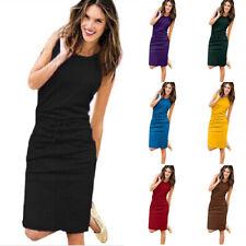 Women Crew Neck Sleeveless T Shirt Solid Straight Skirt Summer Package Hip Dress