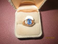 LADY'S GOLD PLATED Ring Size 6 BLUE STONE FAUX COSTUME FASHION FUN