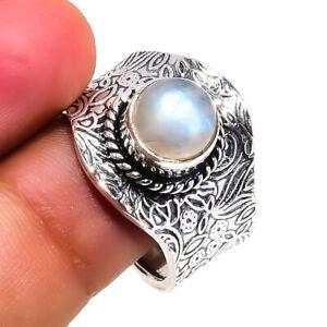 White Rainbow Moonstone Gemstone Ethnic 925 Sterling Silver Jewelry Ring ADJUST