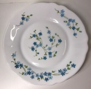 Lot18 De 6 Petites Assiettes Plates Arcopal France D 19,5Cm Fleurs Bleu Myosotis