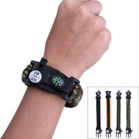 Emergency Survival Paracord Bracelet with LED Lamp Sparking Rod Camping Compass