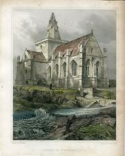 Grabado antiguo. Church of St. Monance, Fife