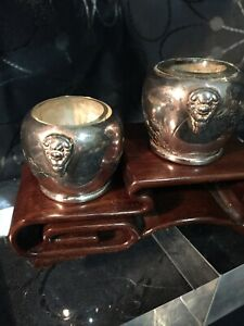 Antique Japanese Asian Sterling Silver Pair of Condiments w Lion Faces