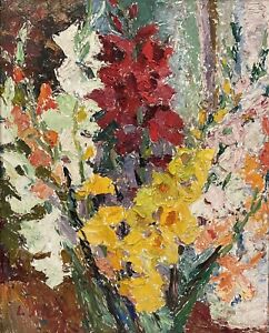"Original Oil Painting By Ludmilla Meilerts (Australian 1908-1997) ""Gladioli"""