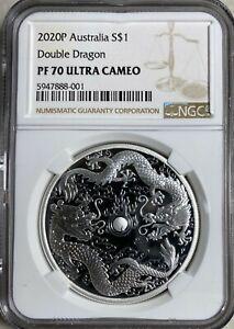 2020 Australia $1 Double Dragon 1oz Silver  NGC PF70 UC