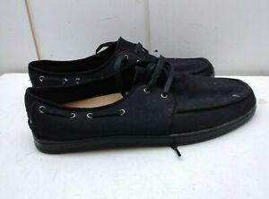 Toms Black Canvas 2-Eyelet Sneaker Moc Toe Boat Deck Camp Casual Men's Shoes 10M