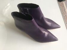 M & S Ladies Purple Leather Ankle Boots Small Heel  4.5 (37.5)  wide Fit RRP £69