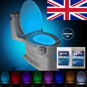 Bathroom LED Toilet Seat Light PIR Motion Activated Night Sensor 8 Lamp Gift WC
