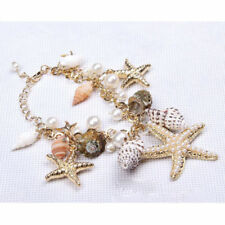 Seashell Bracelet - Beach Wear - Goldtone - Starfish, Pearls & Shells