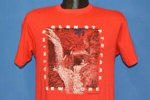 vintage 90s WATKINS GLEN STATE PARK NEW YORK NY RED PUFFY PAINT t-shirt SMALL S