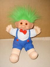 Creative Marketing Plush 11'' Troll Doll Green Hair Blue Shorts Red Bow Tie